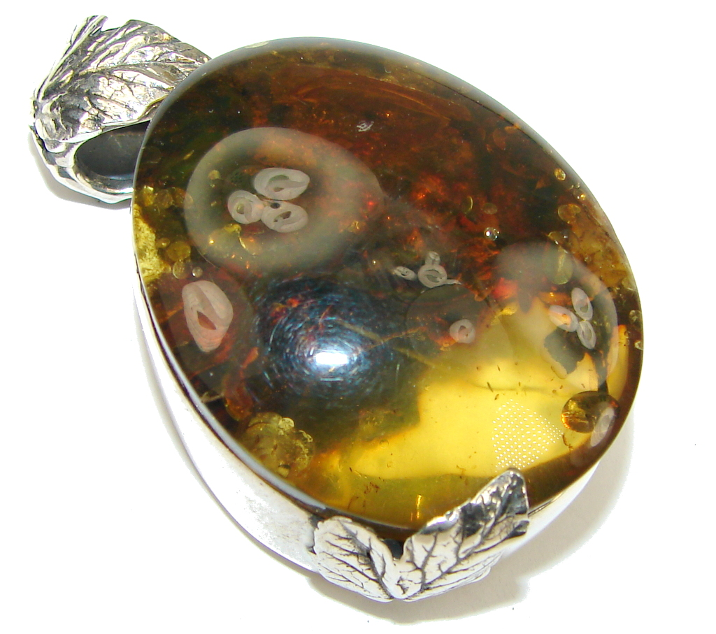Big! Beauty Center! AAA Baltic Polish Amber Sterling Silver Pendant