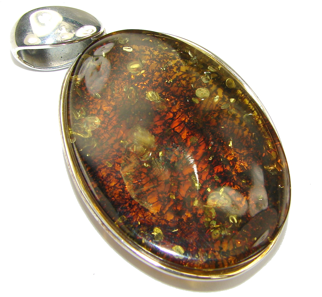 Big! Incredible AAA Baltic Polish Amber Sterling Silver Pendant