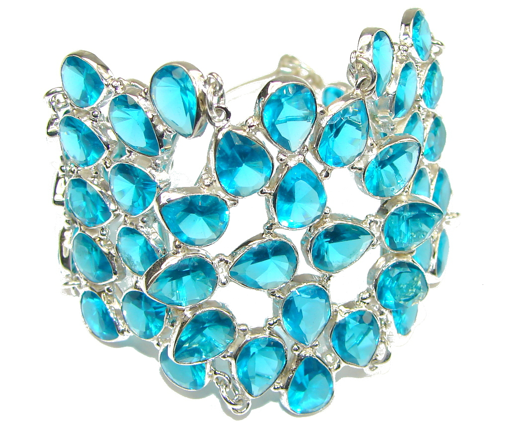 Blue Angel! Created Blue Topaz Sterling Silver Bracelet