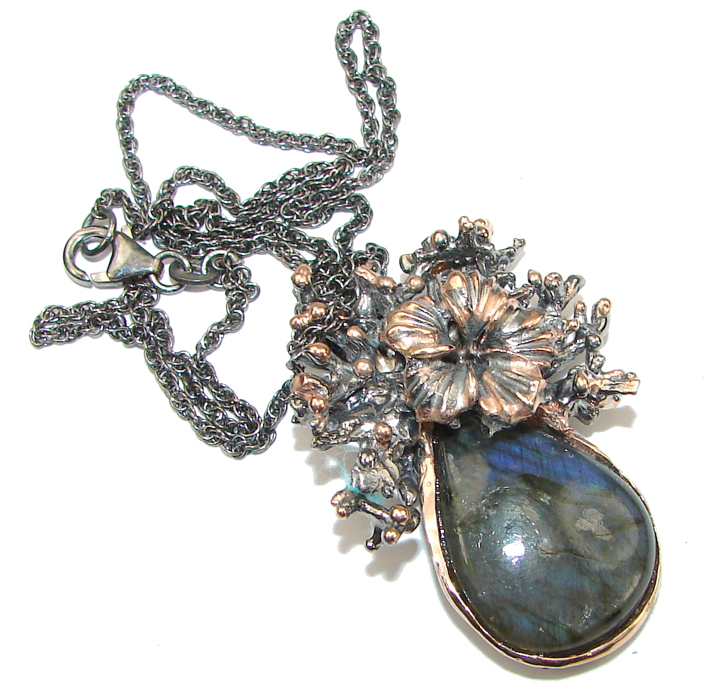 Italy Made! Blue Labradorite, Rose Gold Plated, Rhodium Plated Sterling Silver necklace