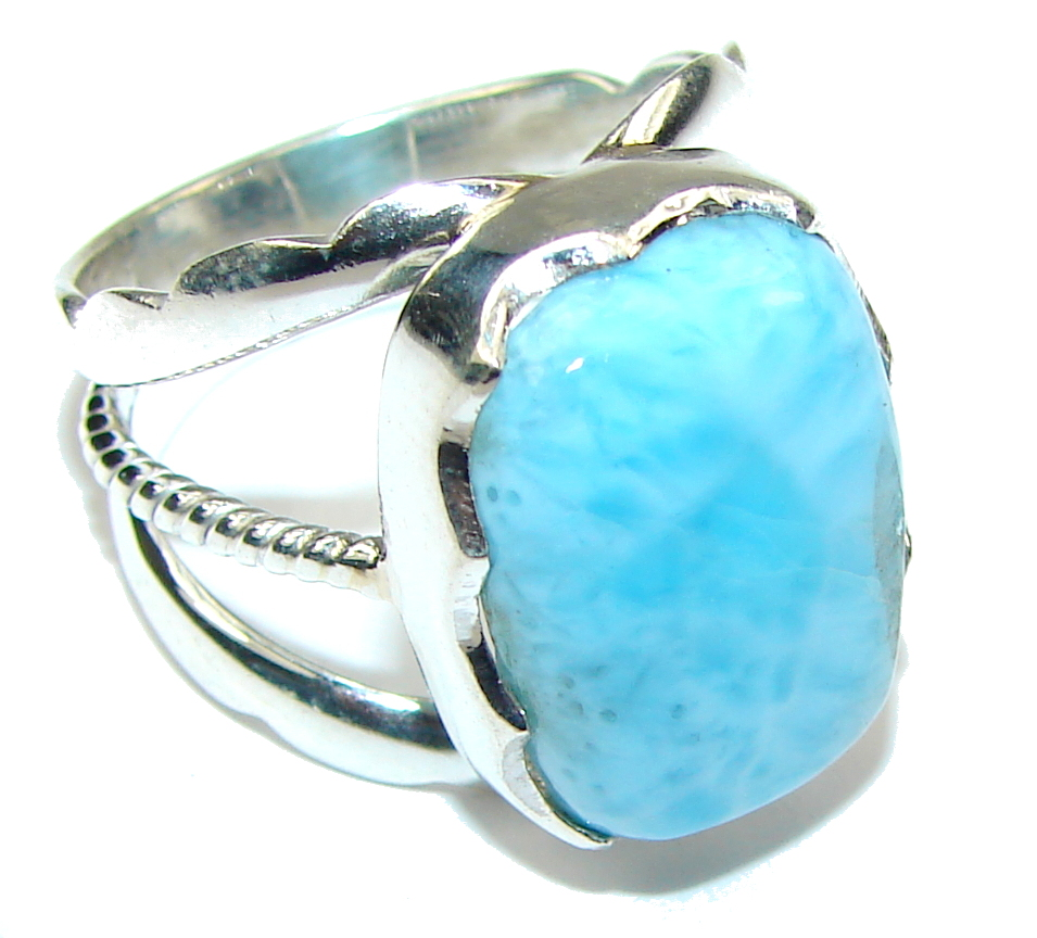 Amazing! AAA Blue Larimar Sterling Silver Ring s. 7 1/2