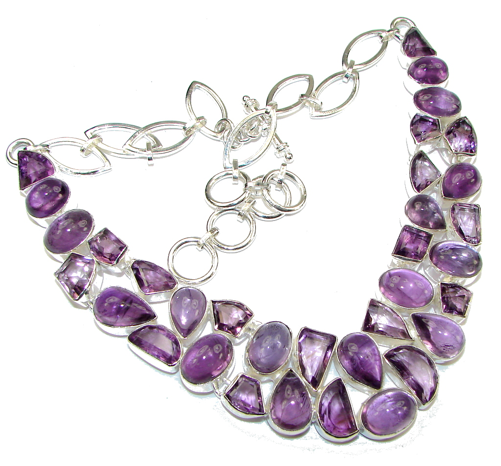 Grand Thai Love! Purple Amethyst Sterling Silver necklace