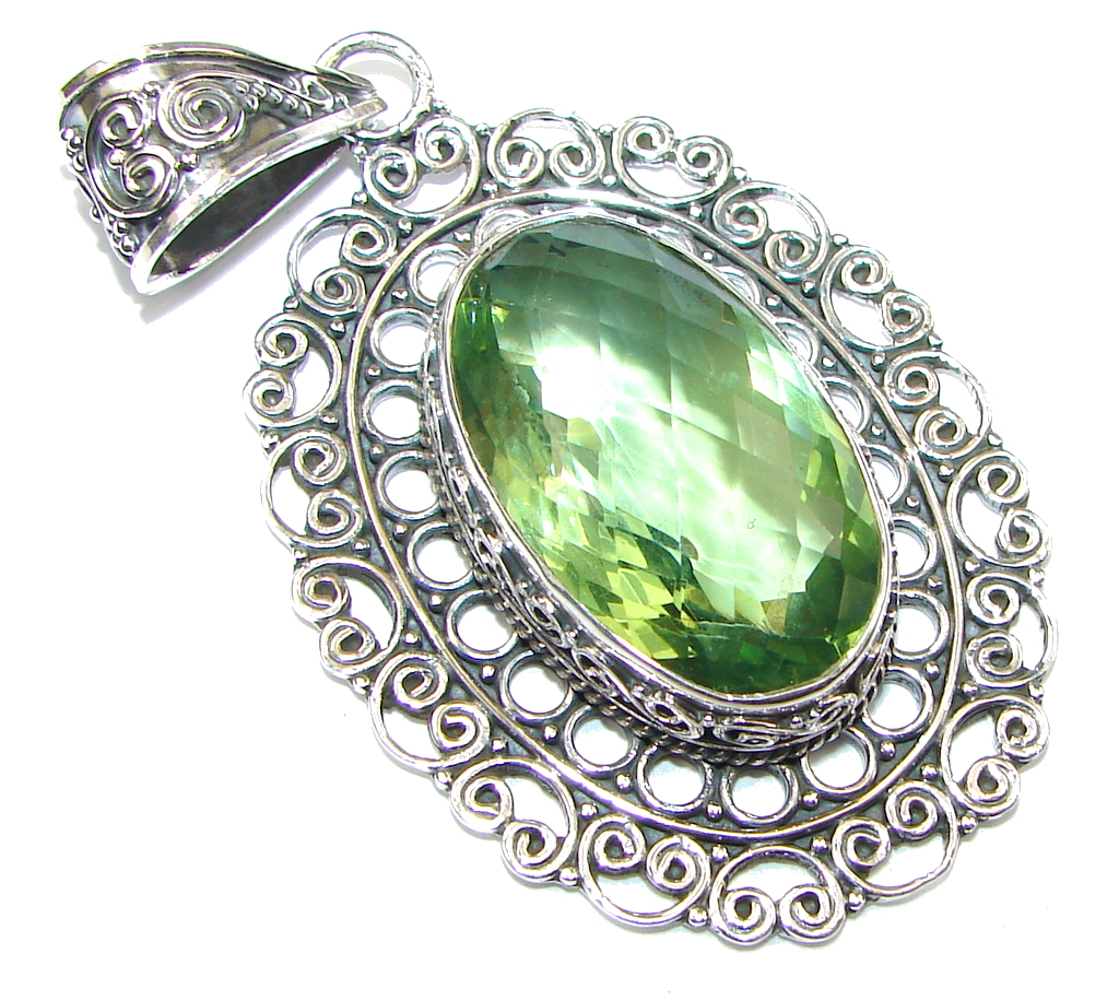Bali Secret! Created Green Peridot Sterling Silver Pendant