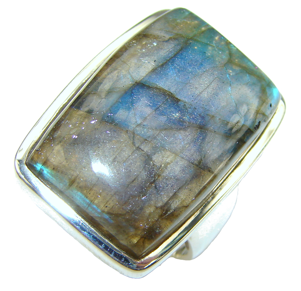 Beautiful! AAA Blue Labradorite Sterling Silver Ring s. 7 1/4