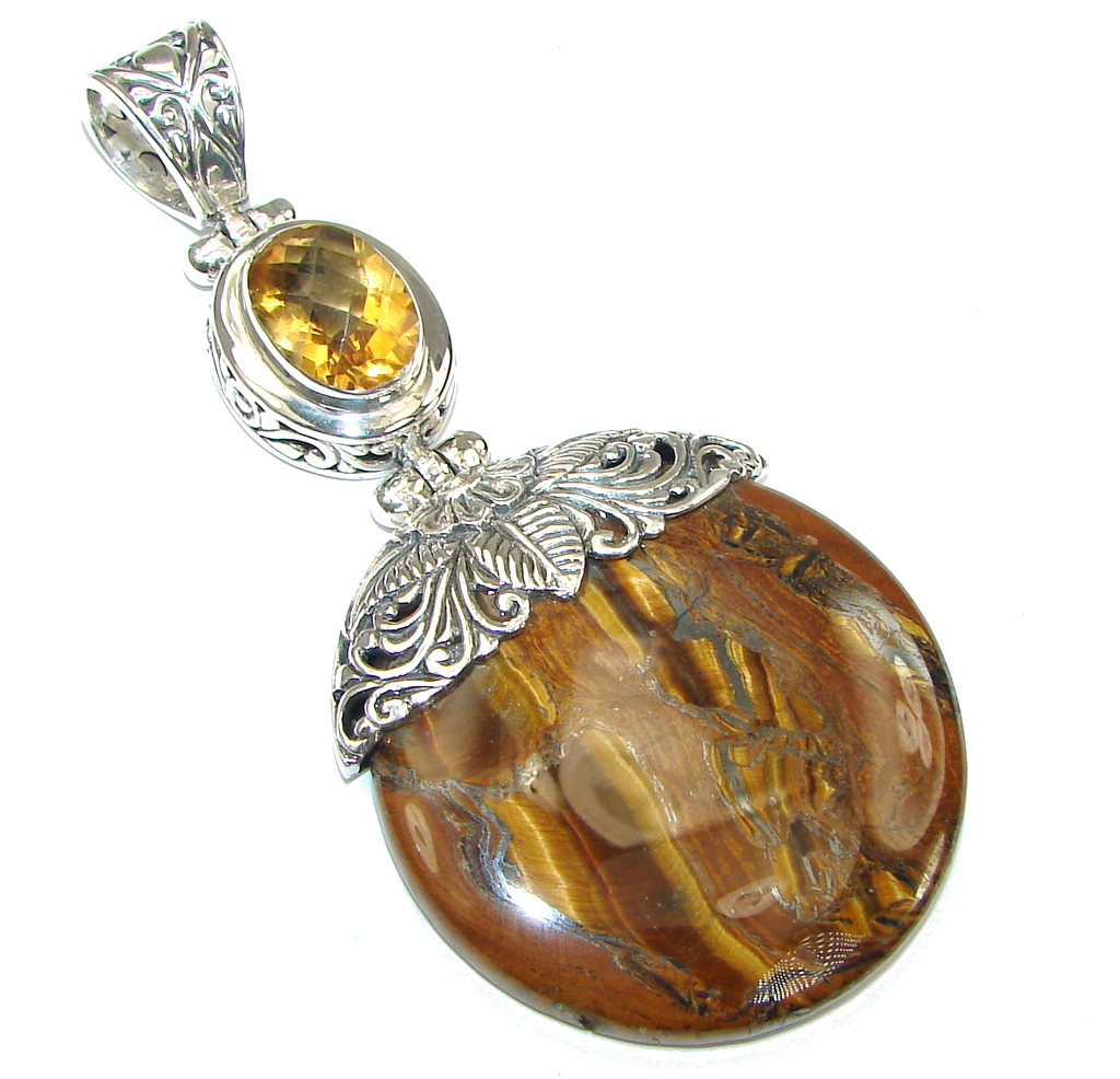 Large! Exclusive Golden Tigers Eye & Citrine Sterling Silver Pendant