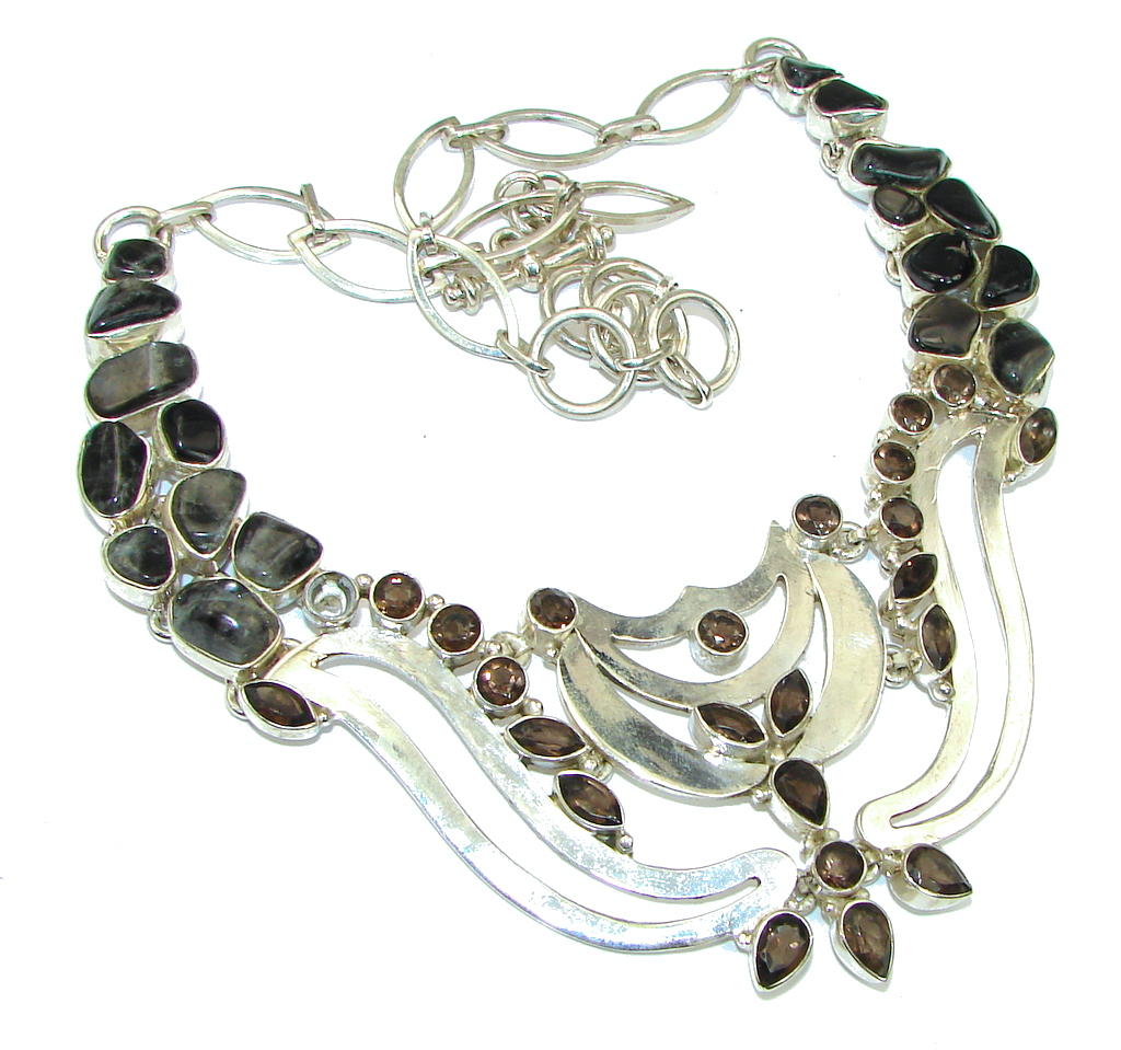Beautiful Design! Brown Smoky Topaz Sterling Silver necklace