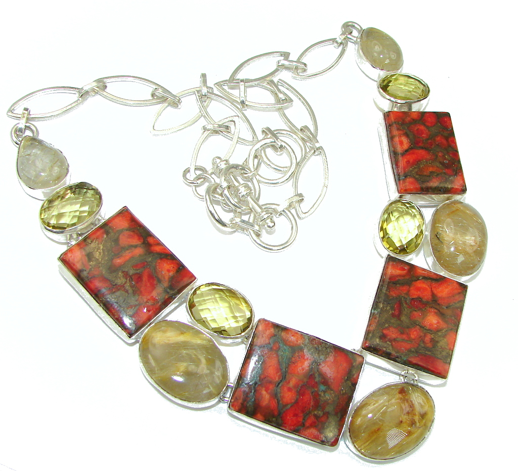 Excellent! Orange Copper Turquoise Sterling Silver necklace