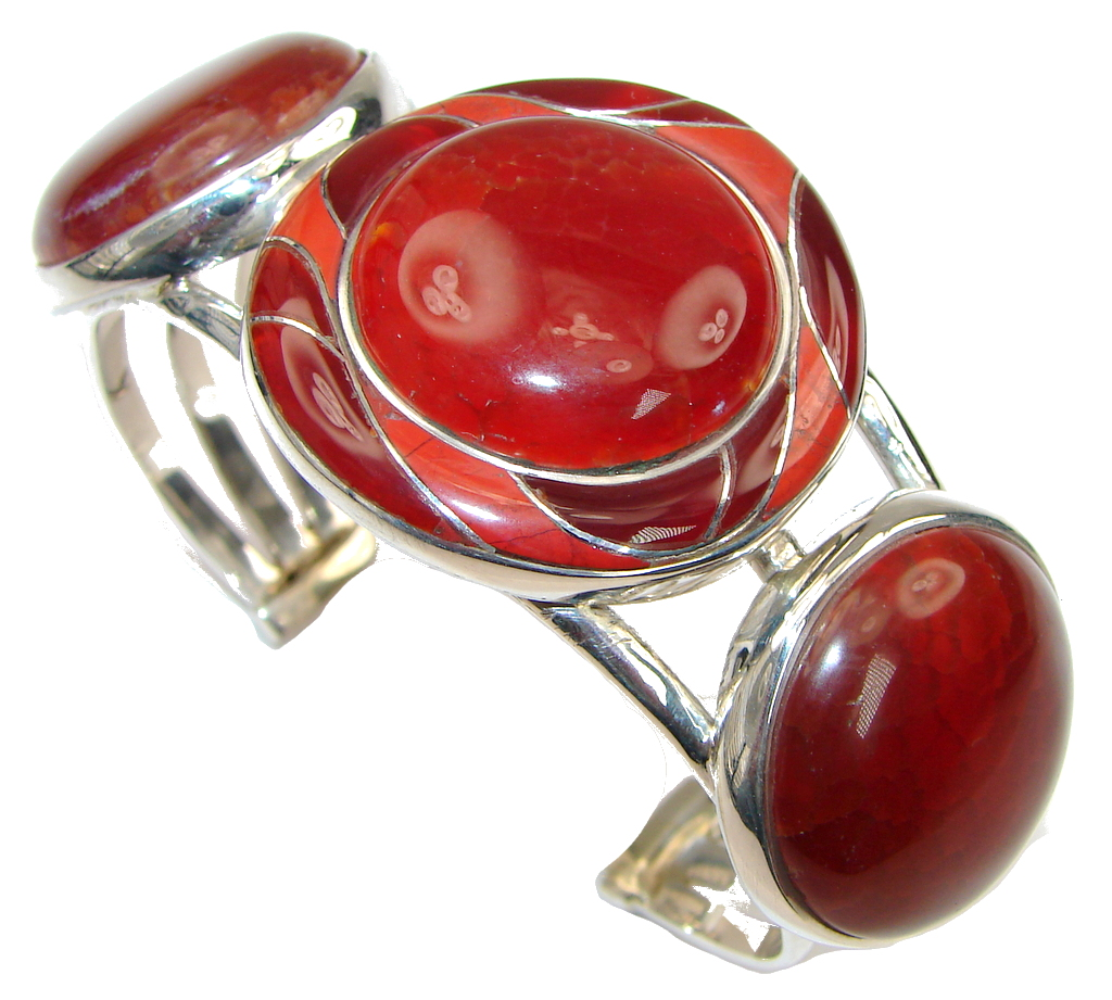 Beautiful! Mexican Fire Agate Sterling Silver Bracelet / Cuff