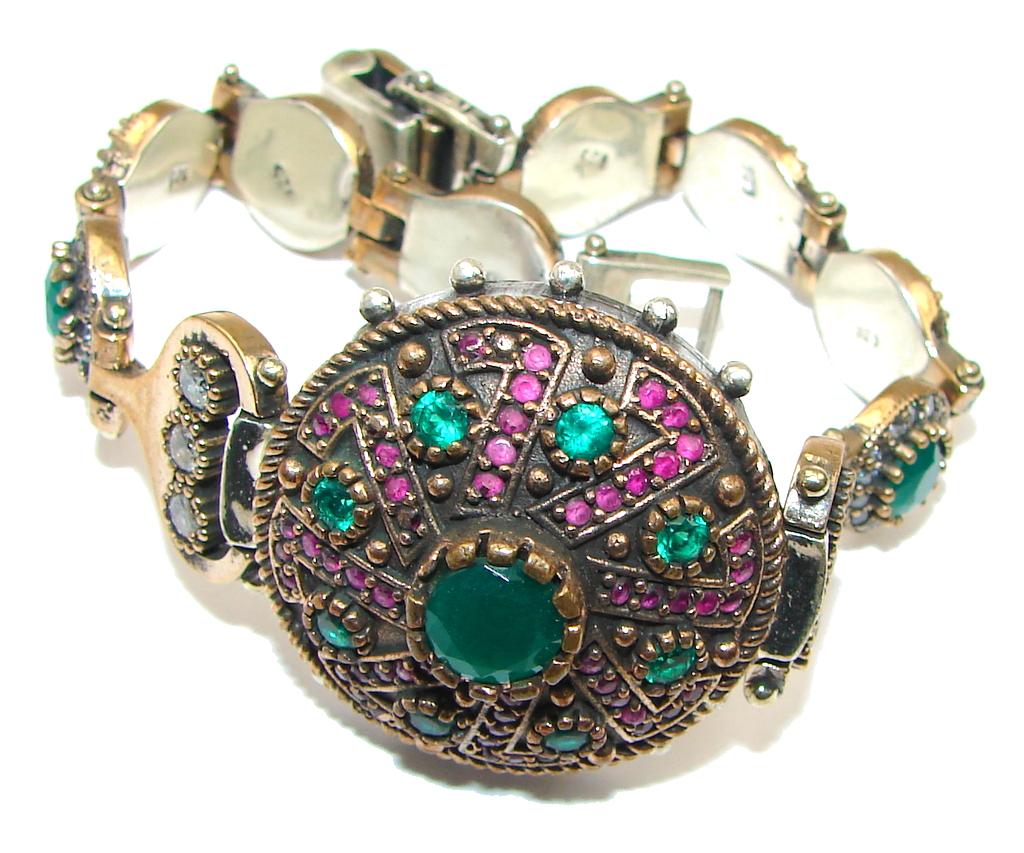 Victorian Style! Green Emerald & Ruby & White Topaz Sterling Silver Bracelet