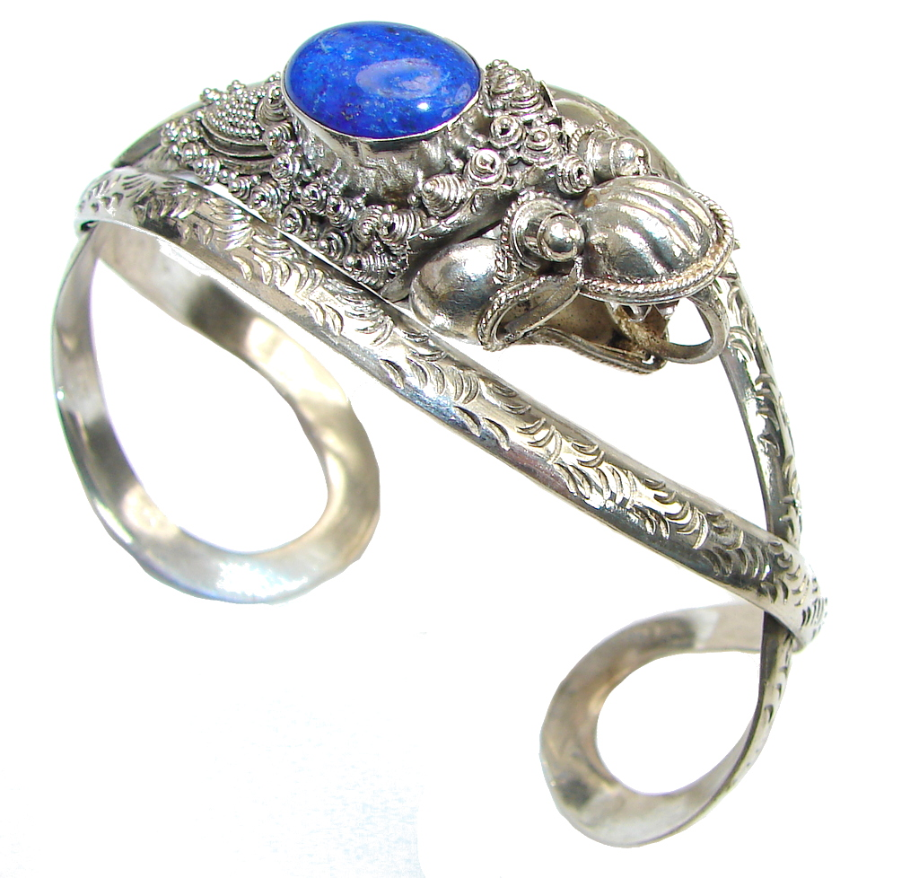 Fashion Dragon! Lapis Lazuli Sterling Silver Bracelet / Cuff