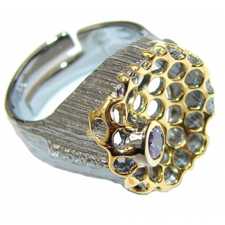 Natural Amethyst Gold Plated Rhodium Plated Sterling Silver ring s. 8 adjustable