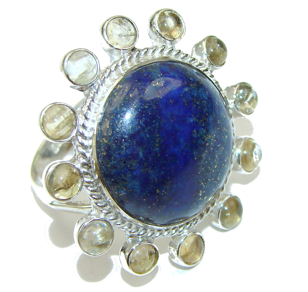 Stylish! Blue Lapis Lazuli Sterling Silver Ring