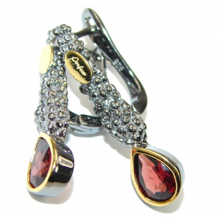 Stunning Mozambique Red Garnet Two Tones Sterling Silver Earrings