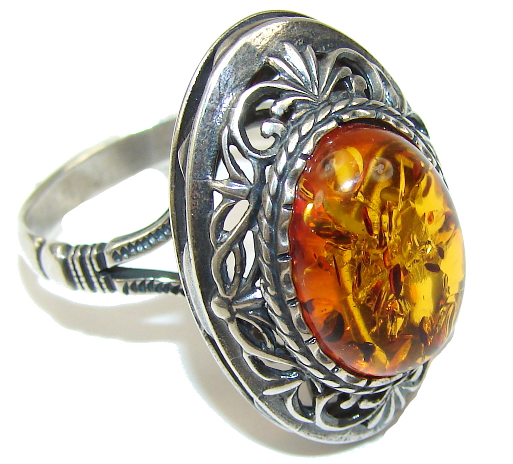 Big! Special Secret! AAA Baltic Polish Amber Sterling Silver Ring s. 11