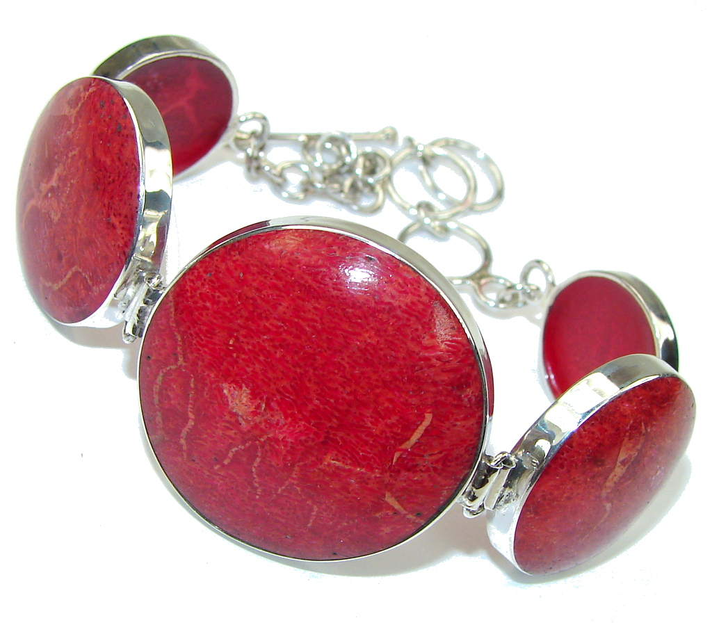 Lovely Night! Red Fossilized Coral Sterling Silver Bracelet