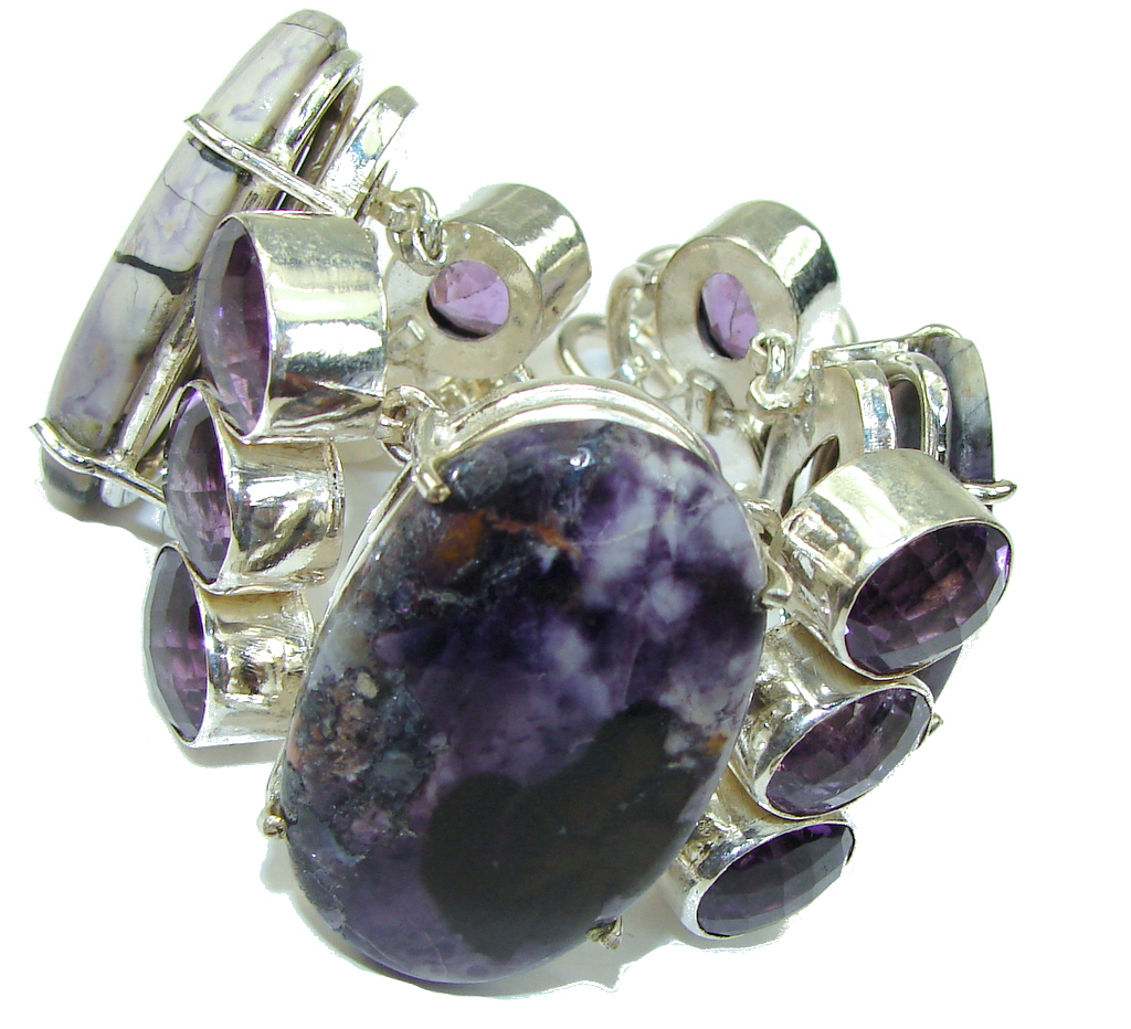 Beautiful! Purple Tiffany Jasper Sterling Silver Bracelet
