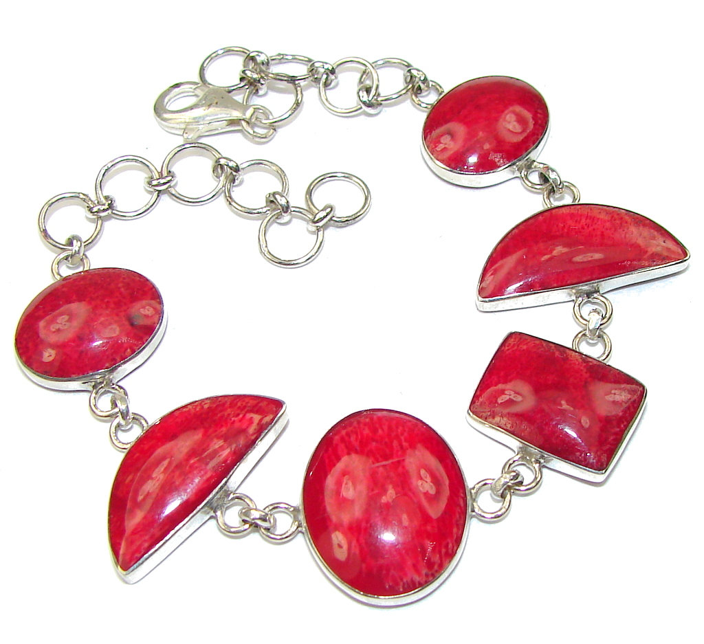 Precious! Red Fossilized Coral Sterling Silver Bracelet
