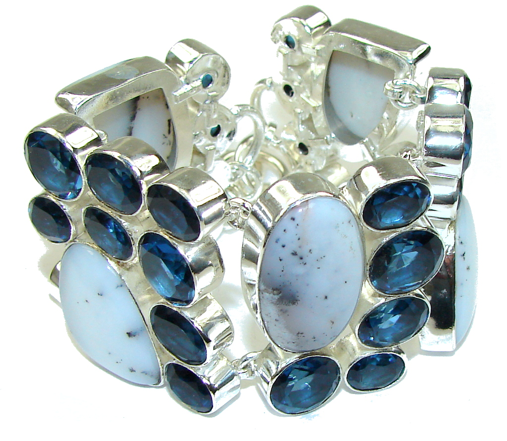 Beautiful! White Dendritic Agate & London Blue Topaz Sterling Silver Bracelet