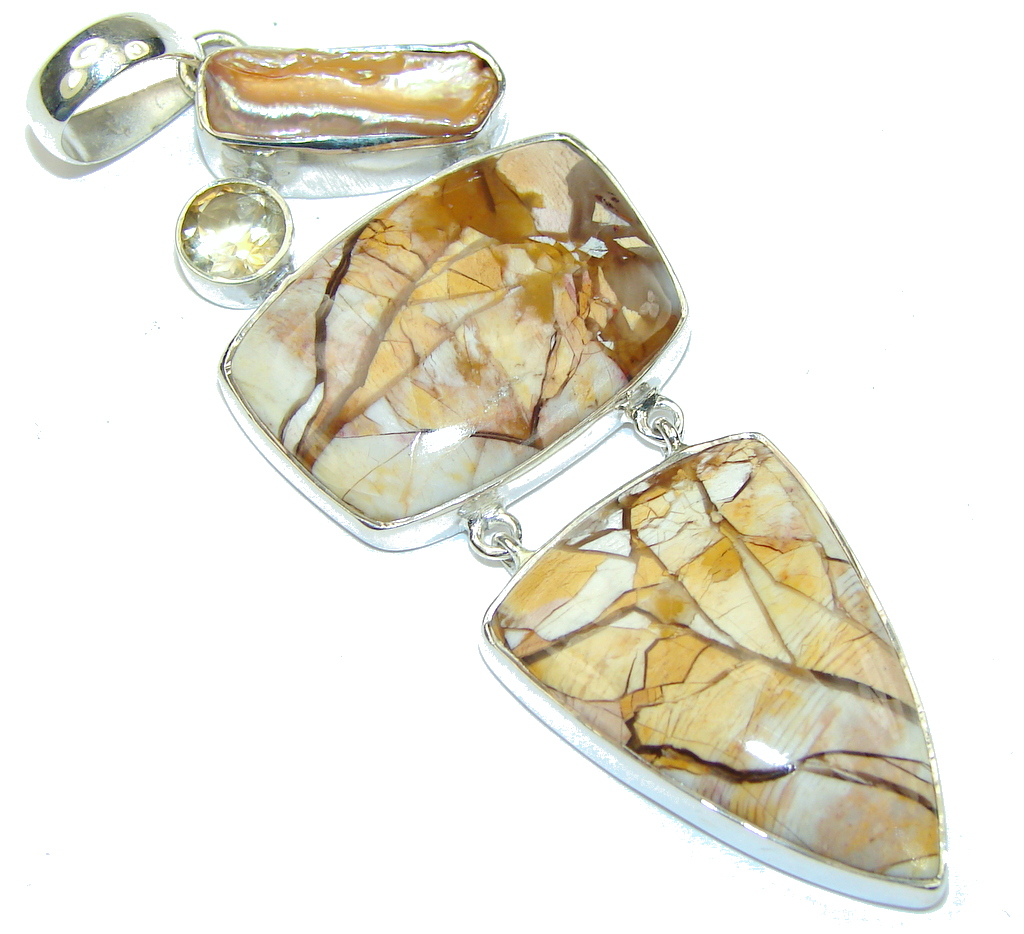 Big! AAA Beauty Burro Creek Jasper Sterling Silver Pendant