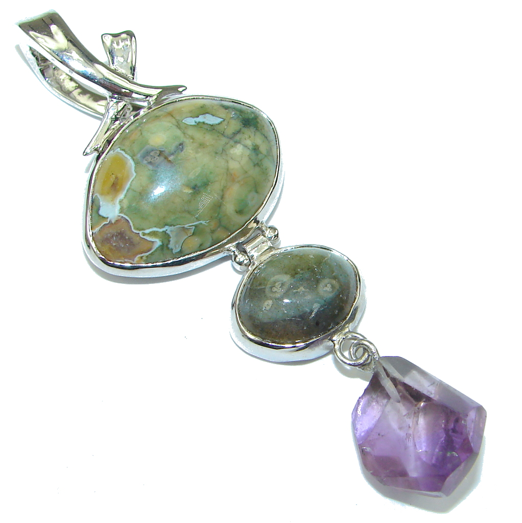 Amazing! Green Rainforest Jasper Sterling Silver Pendant