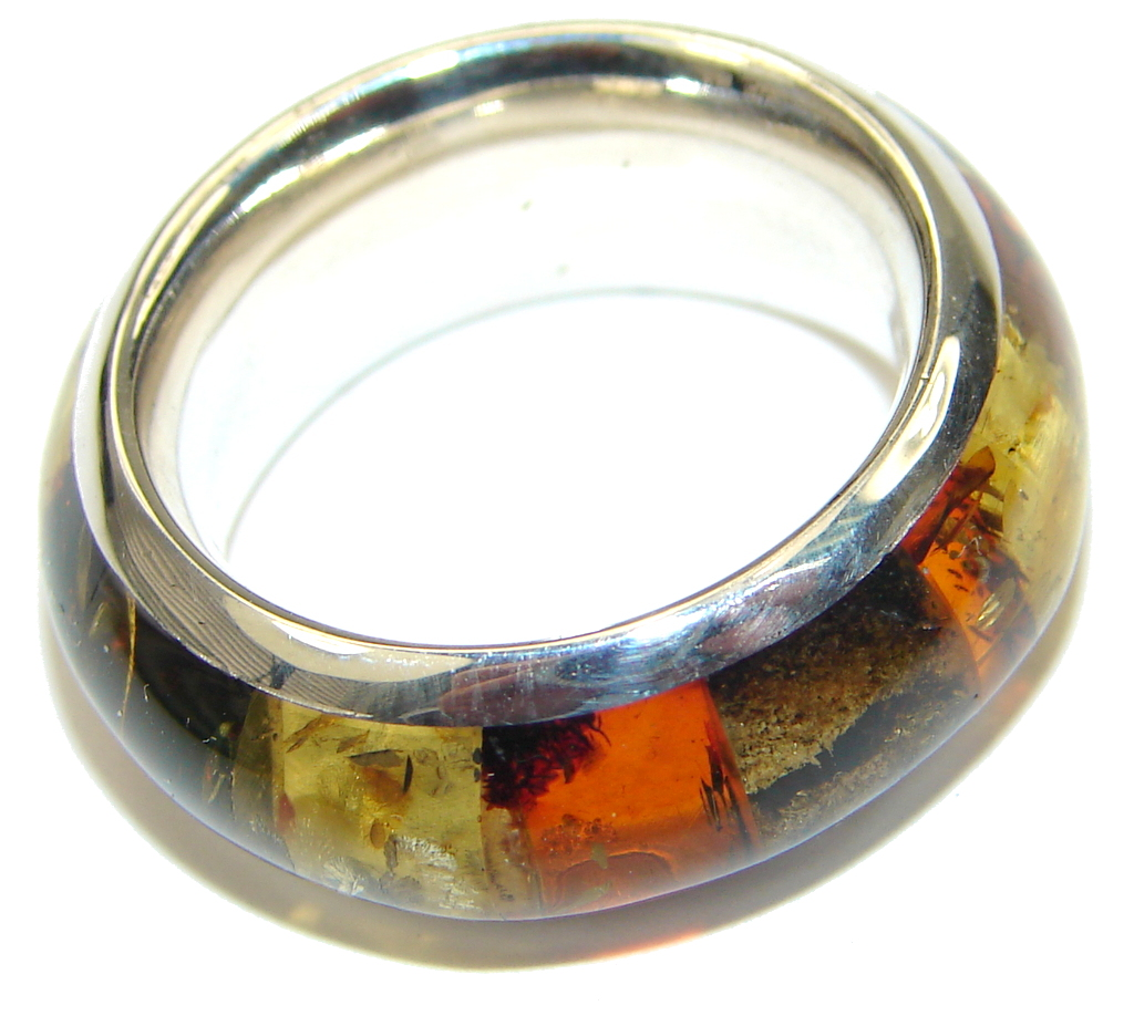 Gorgeous! AAA Mosaic Polish Amber Sterling Silver Ring / Band s. 7 1/2