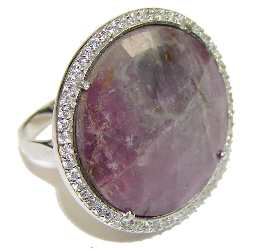 Love's Light! Untreated Red Ruby & White Topaz Sterling Silver Ring s. 8 1/4