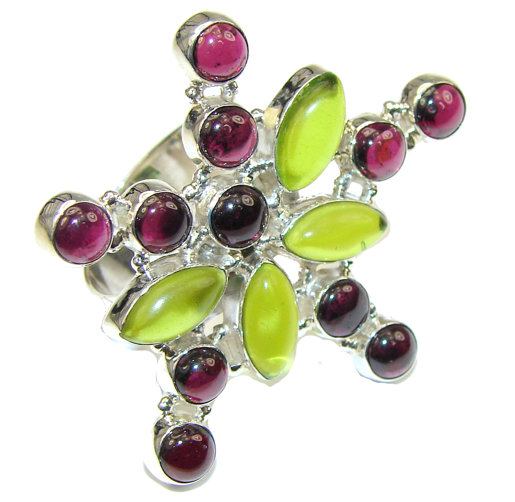 Big! Stylish Tourmaline & Peridot Quartz Sterling Silver ring s. 9 1/4