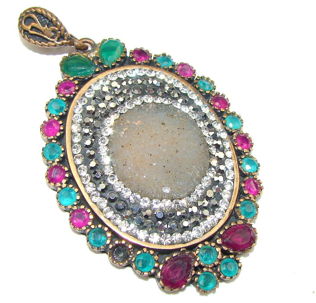 marcassite.com view the photo of  Victorian Style! Gray Druzy Sterling Silver Pendant