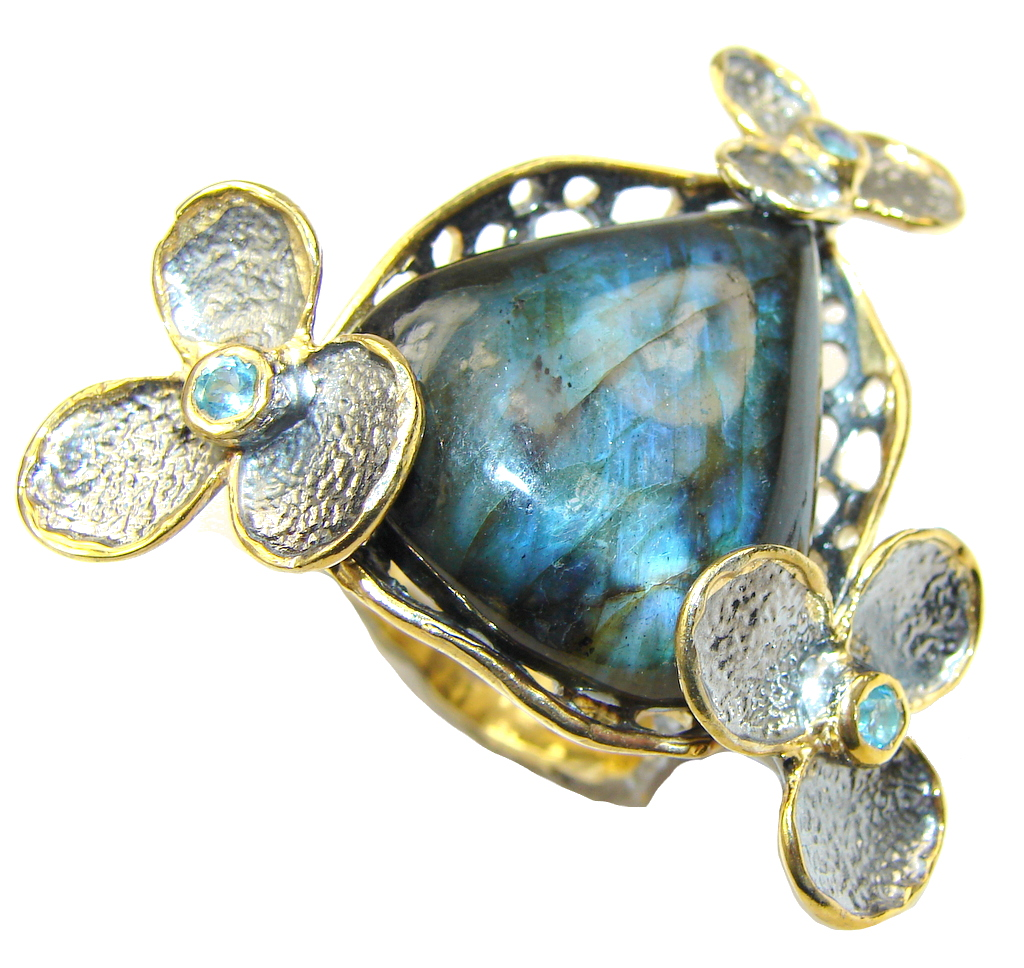 Large! Gallery Piece! AAA Labradorite & Swiss Blue Topaz, Gold Plated, Rhodium Plated Sterling Silver Ring s. 10