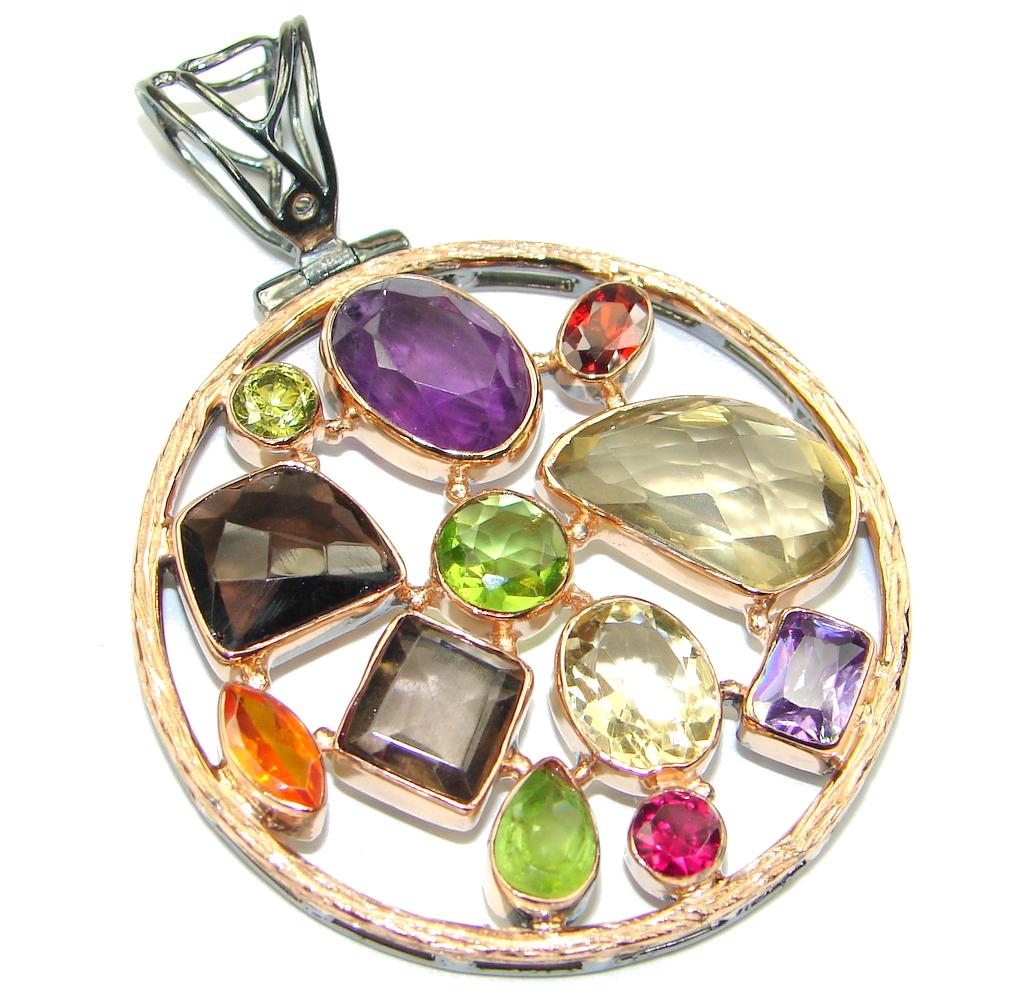 Aura Of Beauty Genuine  Multigem Rose Gold over Sterling Silver Pendant