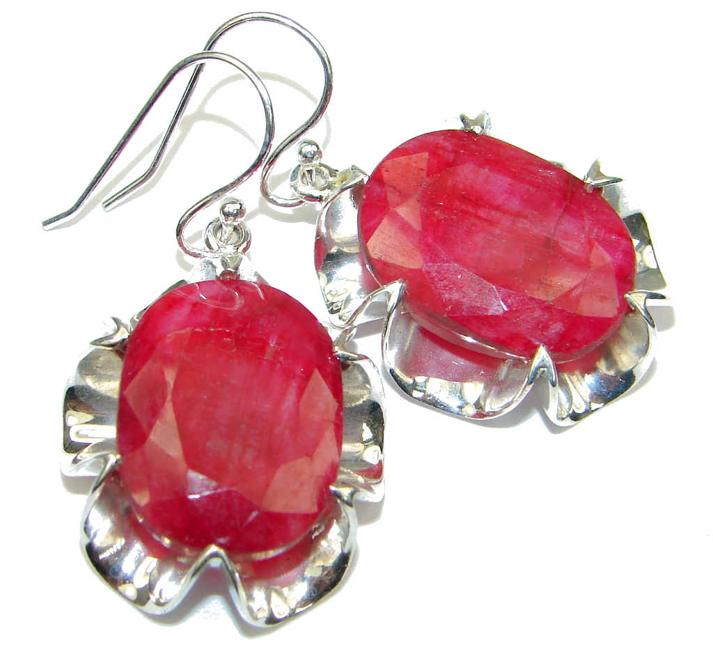 Bold Energetic Red Ruby Sterling Silver earrings / Long
