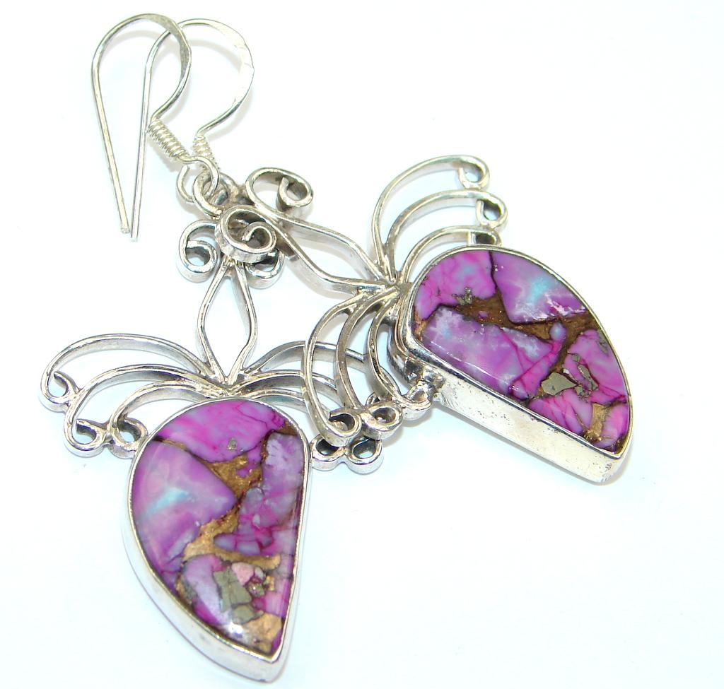 Amazing! Purple Copper Turquoise Sterling Silver earrings