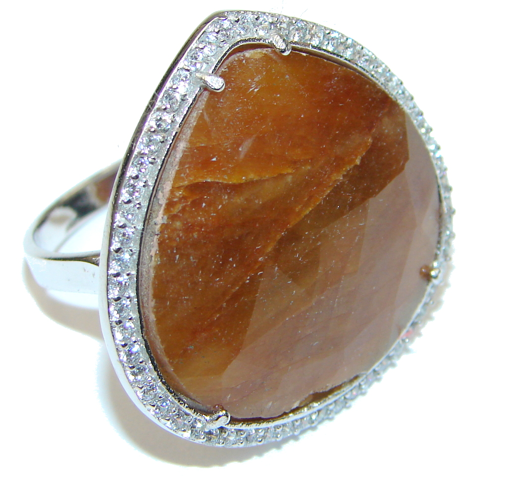 Stunning! Orange Sapphire & White Topaz Sterling Silver Ring s. 8 1/4
