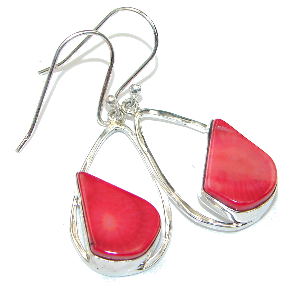 Amazing! Red Fossilized Coral Sterling Silver earrings