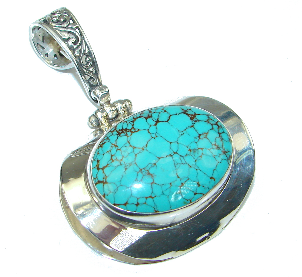 Bali Secret! Blue Turquoise Sterling Silver Pendant