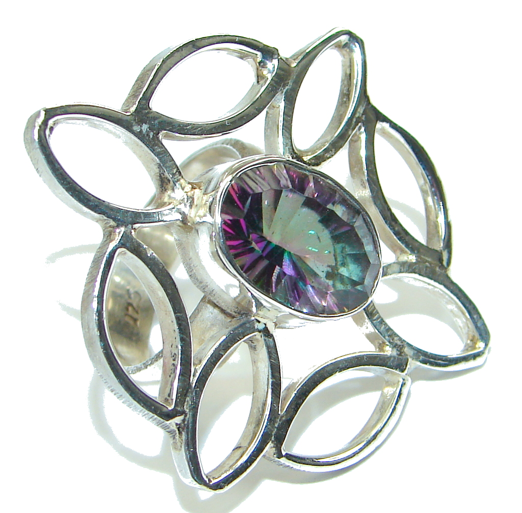 Big! Exotic Magic Mystic Topaz Sterling Silver ring; s. 8
