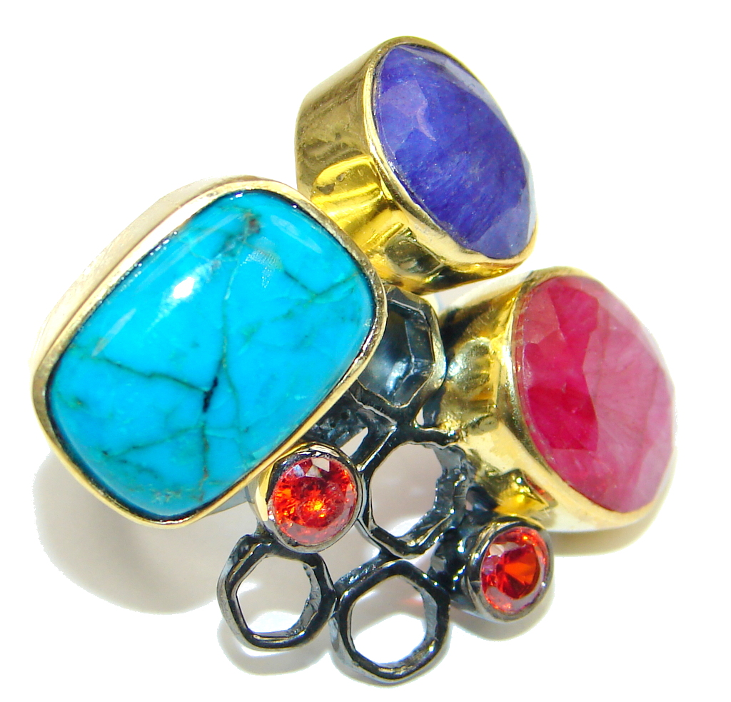 Beautiful! Turquoise Gold Plated, Rhodium Plated Sterling Silver ring s. 7 1/2