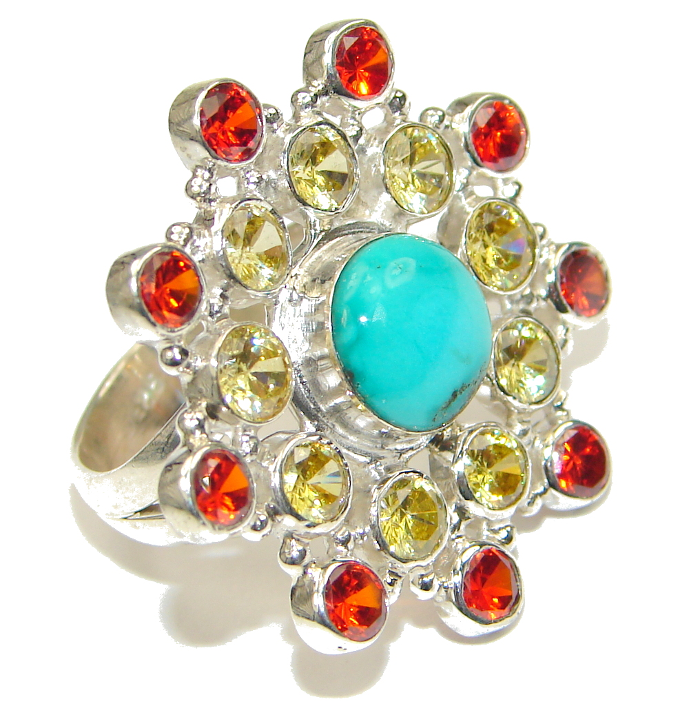Aura Of Beauty! Blue Turquoise Sterling Silver ring s. 7 1/4