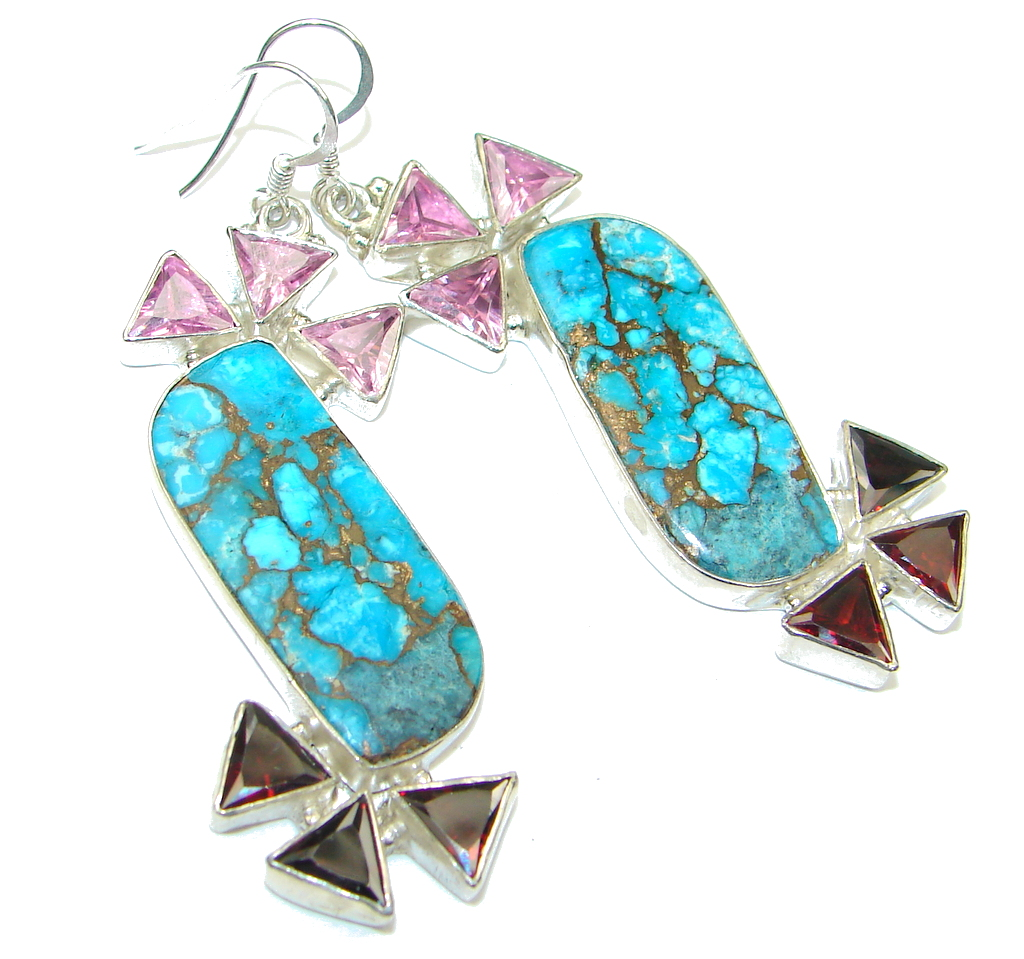Big! Excellent Blue Copper Turquoise Sterling Silver earrings