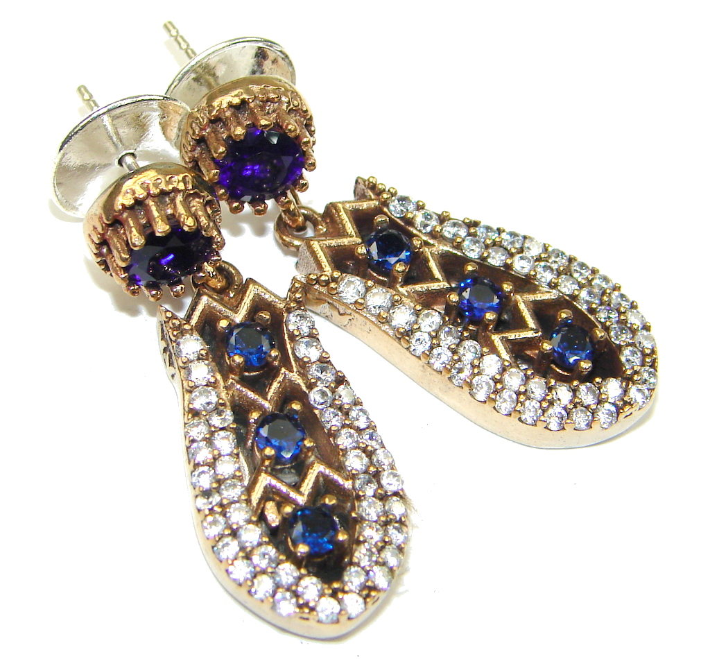Victorian Style! Blue Sapphire Quartz & White Topaz Sterling Silver earrings