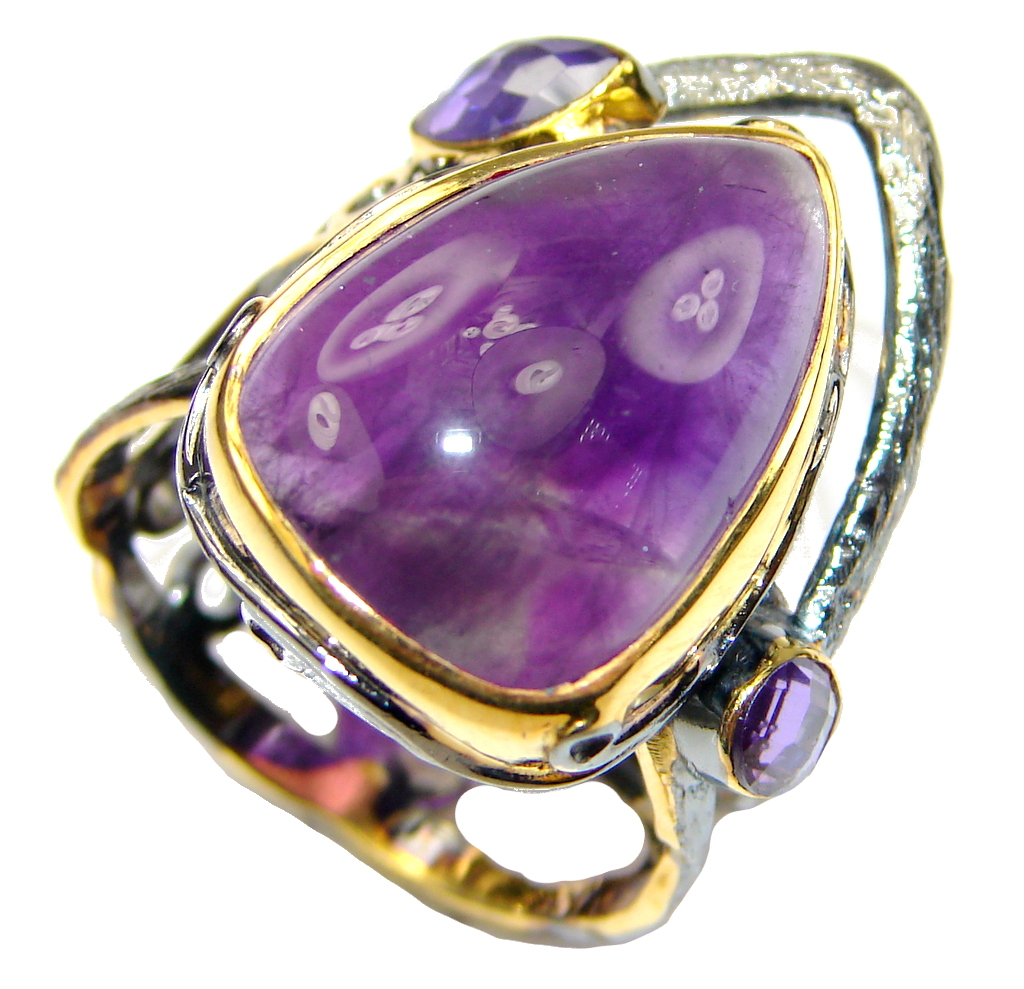 Natural! AAA Purple Amethyst, Gold Plated, Rhodium Plated Sterling Silver Ring s. 9 1/2
