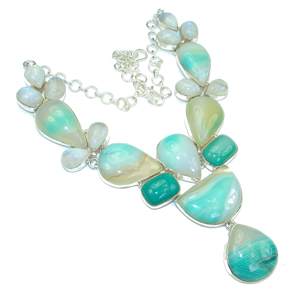 Frost Breeze! Green Botswana Agate Sterling Silver necklace