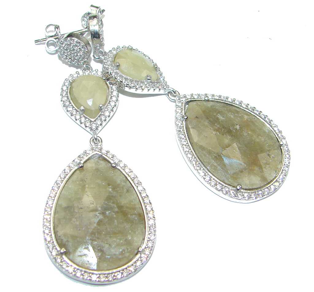 Exclusive! Green Sapphire & White Topaz Sterling Silver earrings