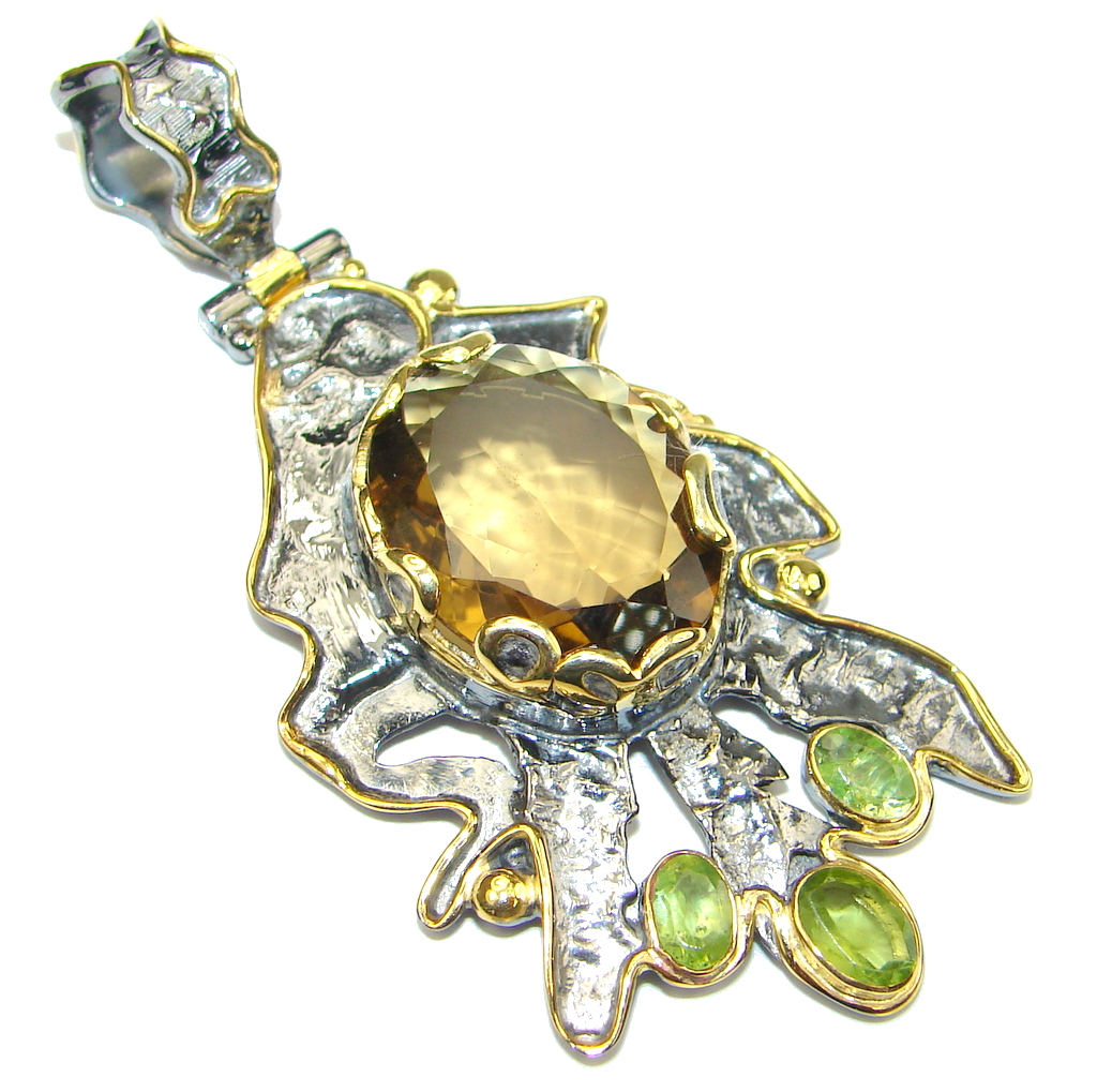 Genuine! Champagne Citrine, Gold Plated, Rhodium Plated Sterling Silver Pendant