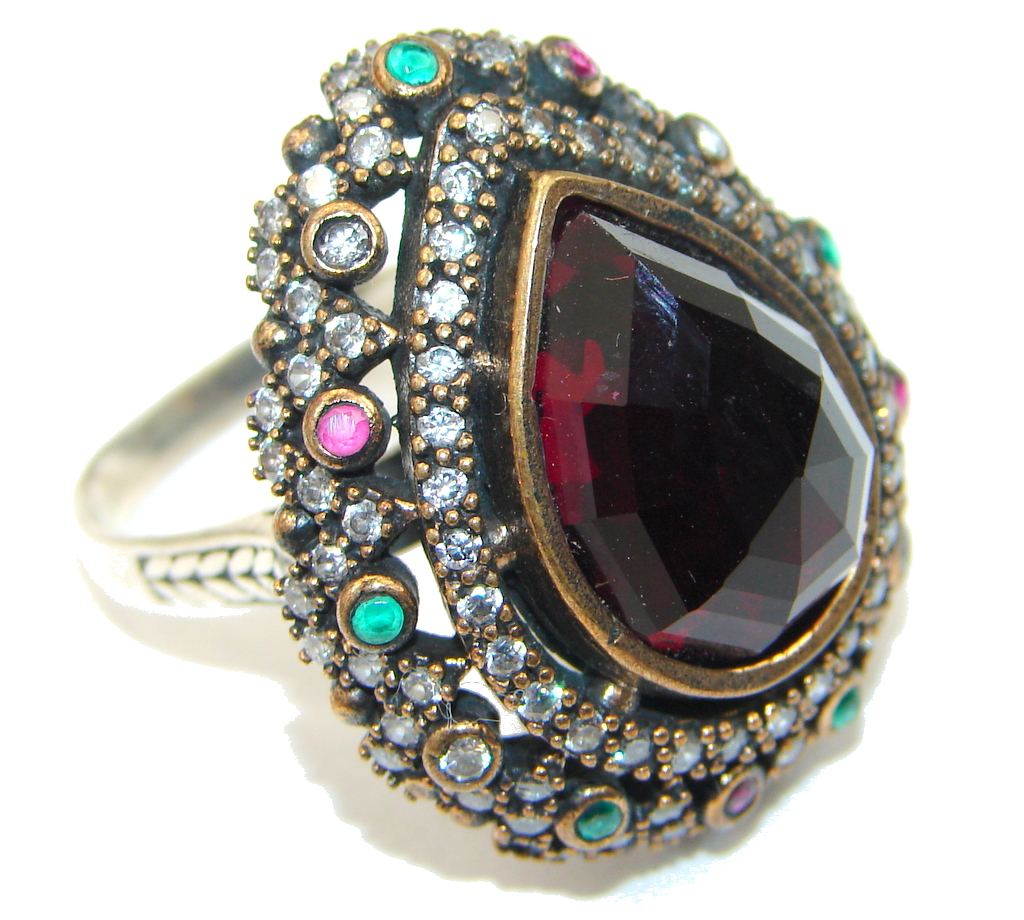 Victorain Style! Deep Red Garnet Quartz Sterling Silver Ring s. 7 1/2