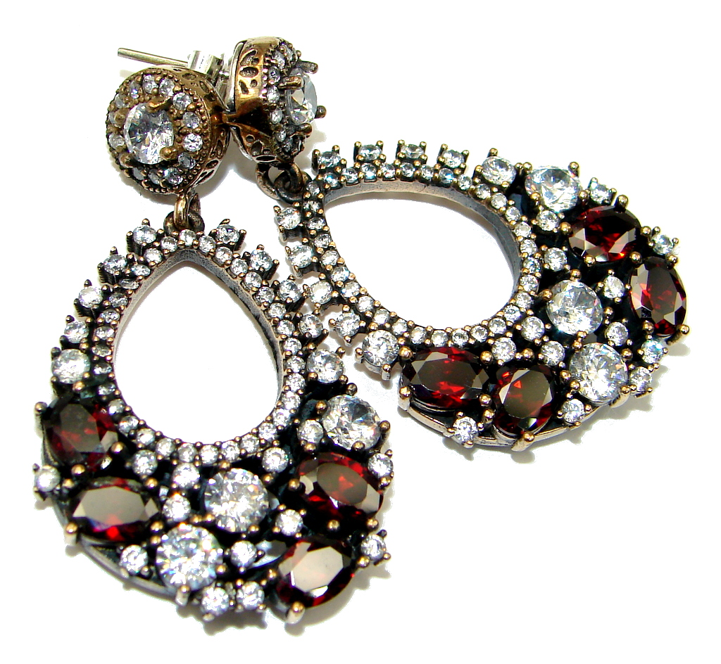 Amazing! Top Quality Garnet & White Topaz Sterling Silver Earrings