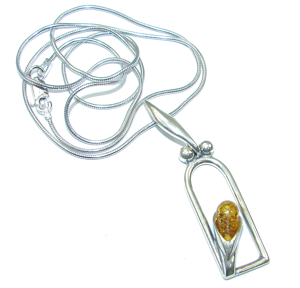 Perfect Gift! Baltic Polish AmberSterling Silver necklace