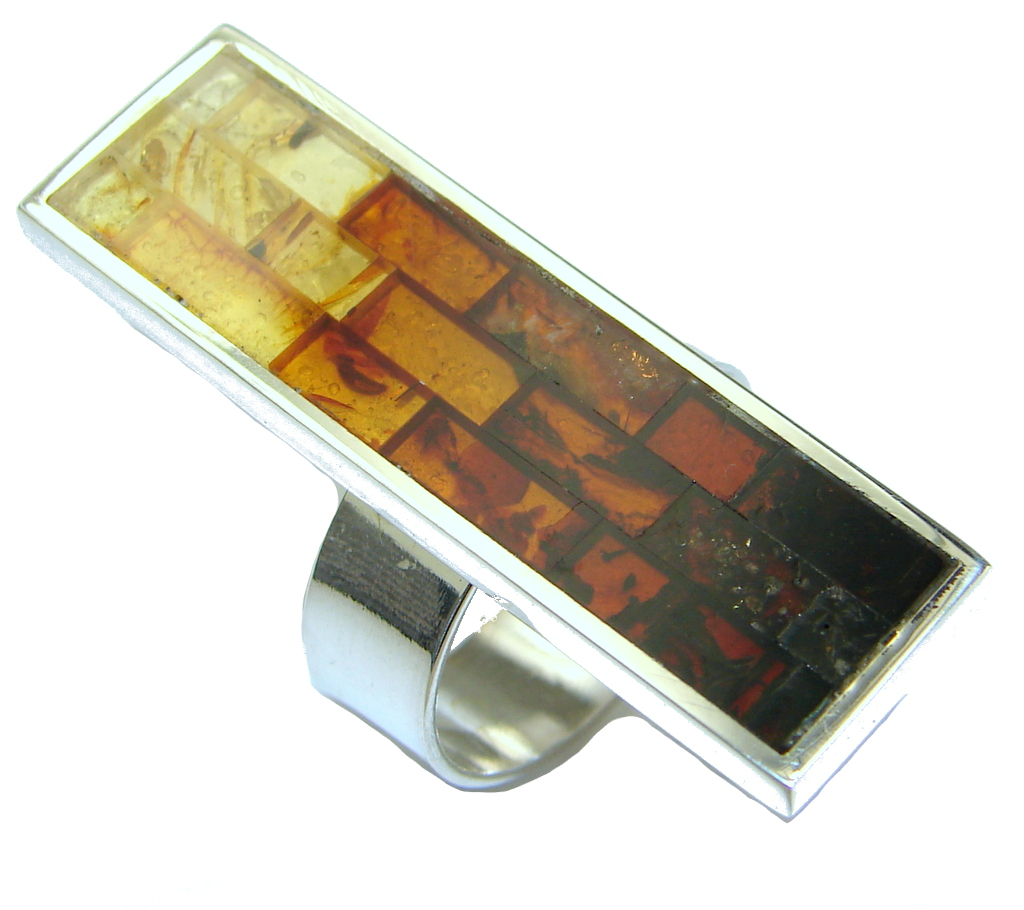 Big! Amazing Mosaic Brown Polish Amber Sterling Silver Ring s. 8