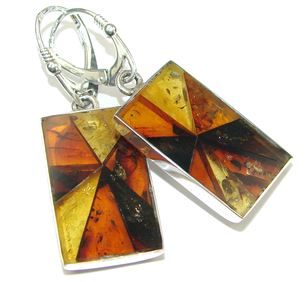 Perfect Mosiac Polish Brown Amber Sterling Silver earrings