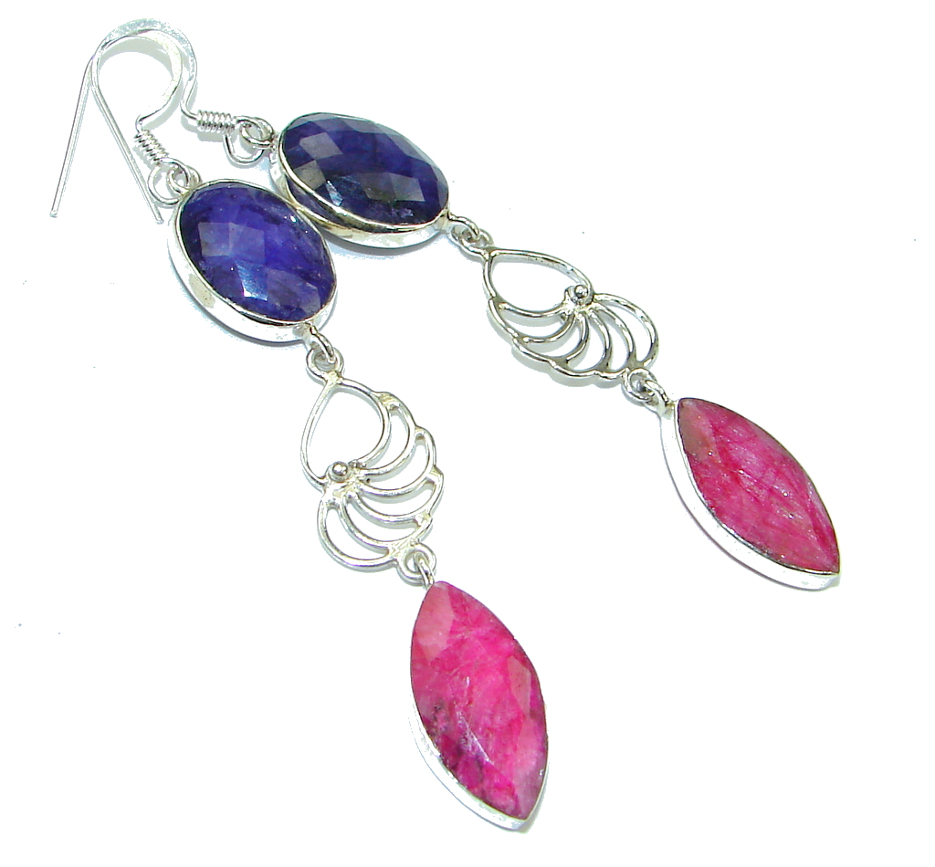 Awesome! Sapphire & Ruby Sterling Silver earrings